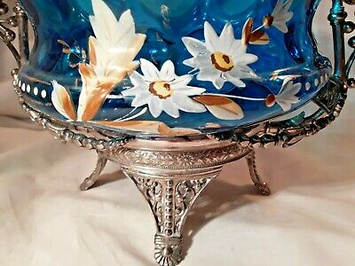 GORGEOUS GLASS  VICTORIAN FRUIT BOWL in ELABORATE SILVER FRAME by James Tufts CO