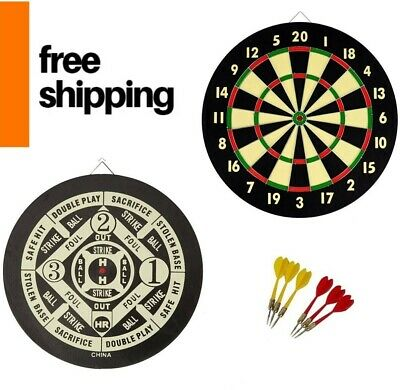 English 20 Point Dart Classic Beginner Double Dartboard Game Room Board 17 Inch