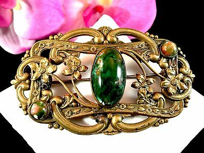 1930'S Brass French Art Nouveau Style Green Onyx Cabochon Stone Floral Brooch