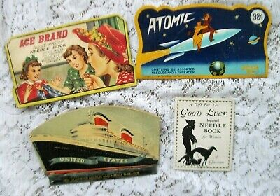 4 Antique Advertising Sewing Needle Book Lot~ Germany Ship/Atomic/Ace/Good Luck
