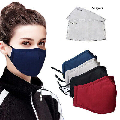 Handmade Cotton Mask Reusable Washable Anti-haze Face Cover With 5 Layers Filter