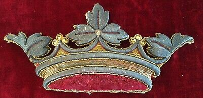 Vintage Metallic  Applique Depicts a Crown Developed Patina French