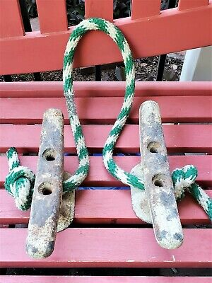 "Antique 70 Year Old Boat Cleat 10"" Inch.... Set Of (2) Cleats"