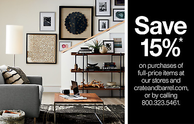 CRATE & BARREL 15% Off Full Priced Items Coupon - Expires 7/31/20 - FAST SEND!
