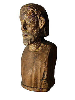 Antique 17th Century Spanish Carved Wooden Bust Of Christ Original Condition