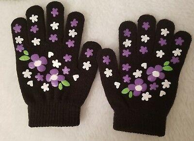 Royal Juniors Womens Black Purple Green White Floral Knitted Gloves Size OSFA