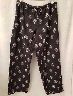 Old Navy Womens Black Purple Green White Floral Sleep Lounge Pants Size L