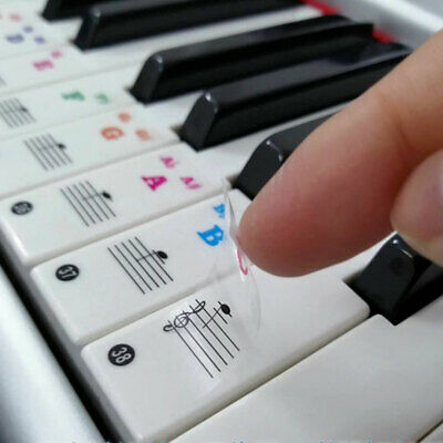 Stickers for 61 key Piano or Keyboard clear laminated black & white key UK