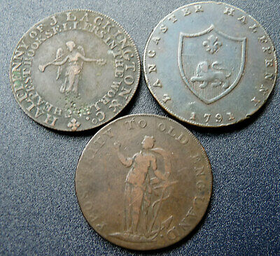 3 X Half-Penny Tokens / Lackingtons - Lancaster - Peace & Plenty 1791-1794