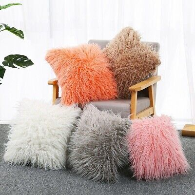 2pcs Luxury Fluffy Shaggy Cozy Cushion Cover Soft Sofa Pillow Case Bed Plush 18""