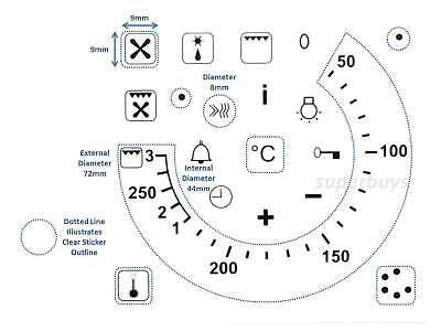 20pc 50-250 Temperature Symbols Function Degree Oven Adhesive Dial Sticker Label