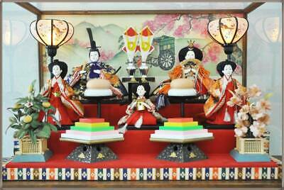 Vintage Japanese Hina doll in Kimono lot Royal Wedding Style 5 dolls Glass Case