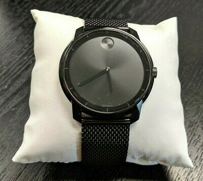 New Open Box MOVADO BOLD Watch Ion-Plated Stainless Steel 3600261, Black -BBL45