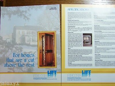 1989 CEMCO LIFT Hydraulic Residence ELEVATORS Specs Planning Guide VTG Catalog