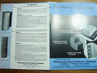 1953 PITTSBURGH STEEL Welded Wire Reinforcement Plaster Stucco Masonry Catalog