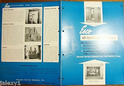 1954 ESCO Elevator Service Co TX OIL-Hydraulic Passenger Freight Vintage Catalog