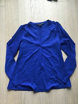 French Connection Top XS Electric Blue Long Sleeve V Neck Polyester Lyocell NEW