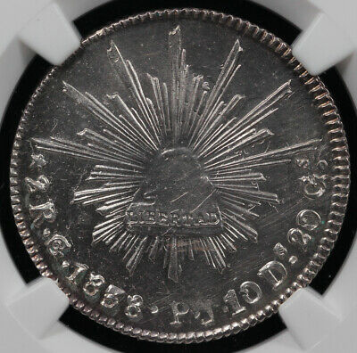 1838 2r GO PJ Mexico 2 Reales NGC MS 62