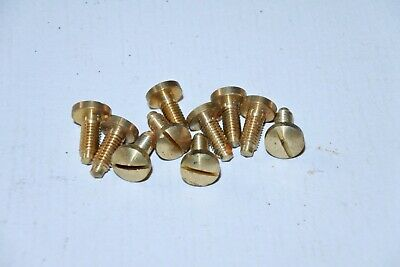 Lot of 10 Vintage Brass Slotted Round Head Music Box Movement Clock Screws #2
