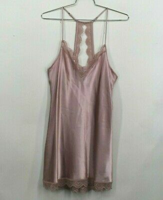 In Bloom by Jonquil Glisten Chemise Solid Pink Sleeveless Lace Back V Neck Sz XL