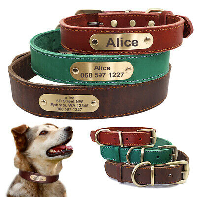 Genuine Leather Personalized Dog Collar Engraved ID Name Customized Adjustable