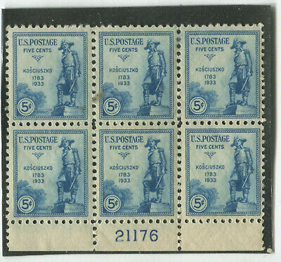 U.S. Stamps Scott #734 P#Blkof6,MINT,NH,VF,perf seps bottom selvage (X6584N)
