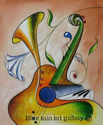 Handpainted Oil Painting Music Abstract On Canvas Wall Art Modern Living Decor