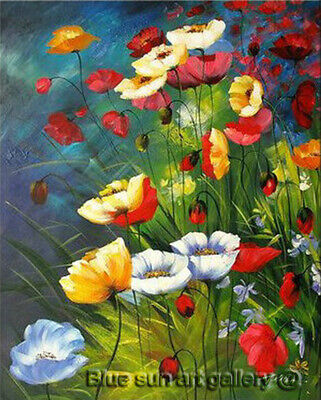 HandPainted Poppy Flower Abstract Oil Painting Canvas Modern Wall Art Home Decor