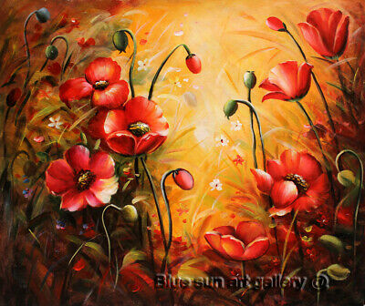 Modern Wall Art Poppy Flower HandPainted Oil Painting Abstract Canvas Home Decor