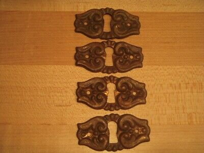 """4 Antique Brass 2 1/16"""" Wide Classic Stamped Keyhole Escutcheon - Not Repro!"""