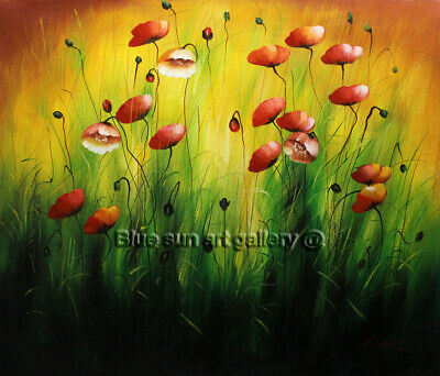 Wall Art Modern HandPainted Abstract Poppy Flower Oil Painting Canvas Home Decor