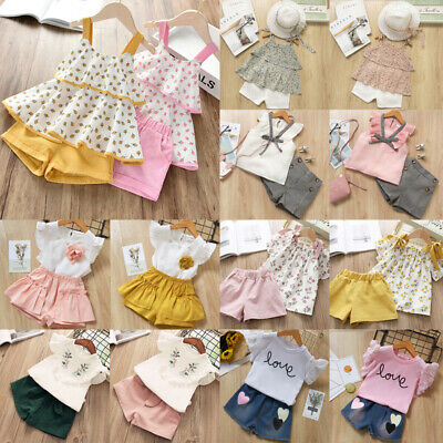 2020 Kids Girls Summer Outfit Clothes Casual Trouser Set Top+Shorts 2PCS Age 2-8