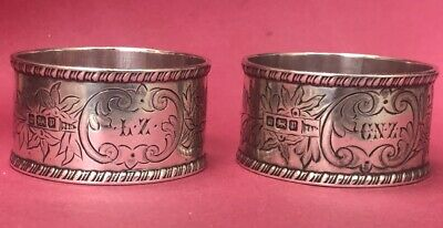 Pair of engraved silver napkin rings Sheffield 1907
