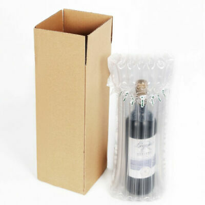 Inflatable Protective Wine Bottle Air Packaging with 37 x15x12cm Cardboard Box