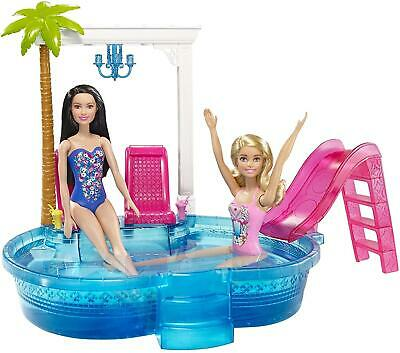 Barbie Doll Glam Swimming Pool Playset Summer Party + Chairs & Slide Girls Gift