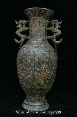 "14"" Chinese Ancient Bronze Ware Dynasty Dragon Handle Pattern Bottle Vase"