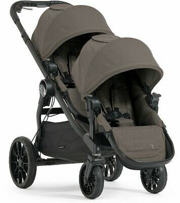 Baby Jogger City Select Lux Twin Tandem Double Stroller w/ Second Seat Taupe