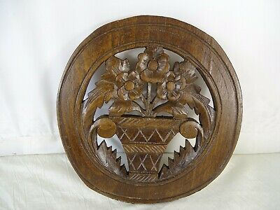 Antique French Round Hand Carved Oak Wood Wall Plaque Decorative Flowers
