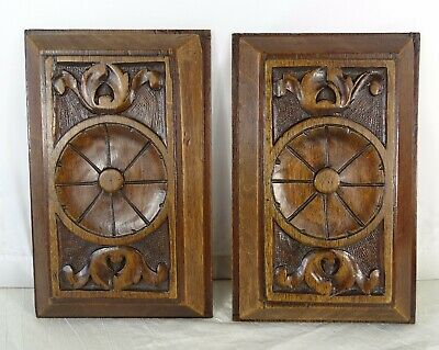 Antique French A Pair of  Hand Carved Wood Walnut Panel Wall Plaque Decor