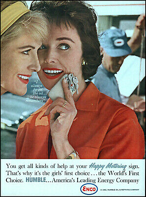 1962 ENCO Humble Oil women Happy motoring service vintage photo print ad S6