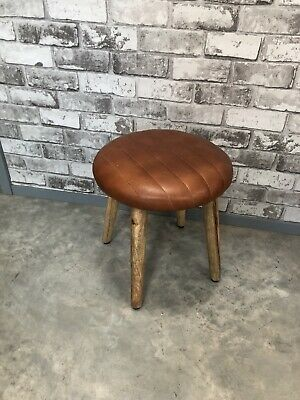 Retro Tan Brown Faux Leather Foot Stool / stool new home decor wooden legs
