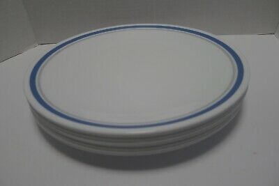 "Corelle Indigo Slate Blue Gray Bands 10-1/4"" Dinner Plates set of 8"