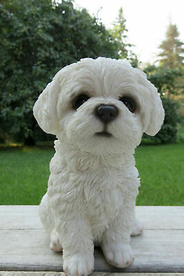 Maltese Puppy Dog Sitting Figurine Statue Resin Ornament  New 6.5 in. Malta