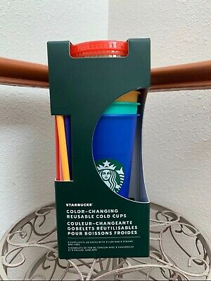 Starbucks 2020 Summer Color Changing Reusable Cold Cup Tumbler 24 oz, Set of 5