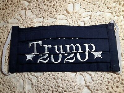 Embroidered-Washable Face Mask TRUMP 2020 100% cotton w/filter pocket  Dk Navy