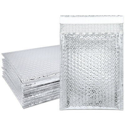 10pcs Lightweight Holographic 6x9 Self-Seal Poly Bubble Mailer Silver Envelopes