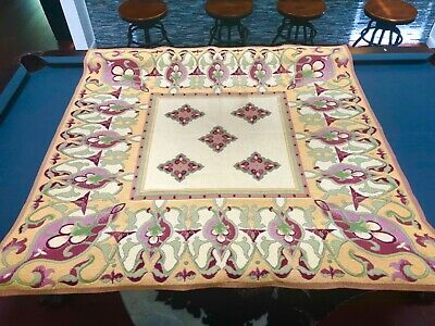 Vtg France French Jacquard Woven Tapestry Art Nouveau Wall Hanging Table Cloth