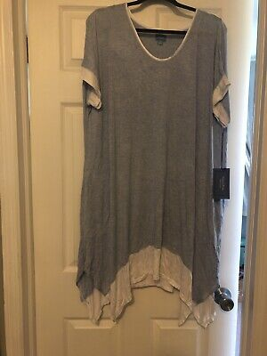 Nwt Womens Simply Vera Wang Blue Nightgown Sharkbite Size Xl Free Ship Pockets