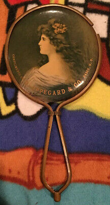 1900s Celluloid Advertising Hand Mirror Oppegard Co Dazey ND Lady Implement