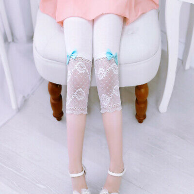Child Kids Girls Casual Mesh Stretch Pants Lace Spliced Tight Elastic Leggings